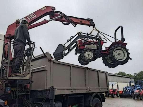 Using the crane to grab